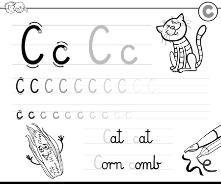 Black and White Cartoon Illustration of Writing Skills Practice Workbook with Letter C for Preschool and Elementary Age Children Coloring Book