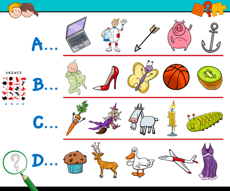 Cartoon Illustration of Finding Picture Starting with Referred Letter Educational Game Workbook for Children