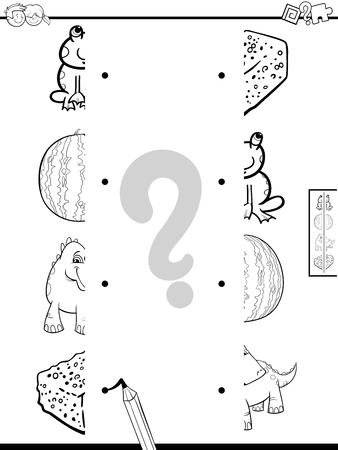 Schwarz-Weiß-Karikatur-Illustration des Lernspiels des Zusammenbringens von Bildhälften mit Tieren und Objekten Malbuch
