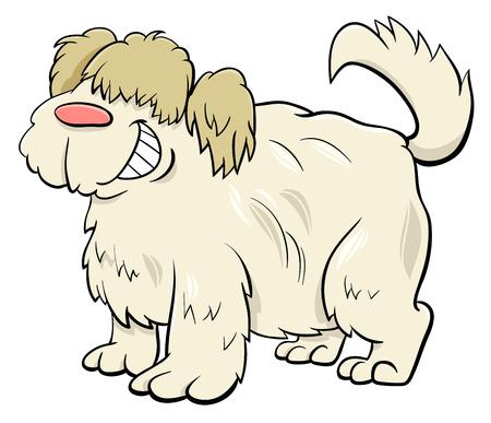 Cartoon Illustration of Funny Shaggy Sheep Dog Animal Character