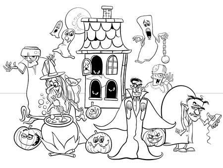 Ilustración caricatura en blanco y negro de Halloween Holiday Funny Characters Group Coloring Book Ilustración de vector