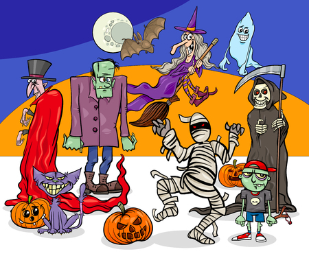 Cartoon Illustration of Halloween Holiday Monsters and Creatures Group Foto de archivo - 109899886