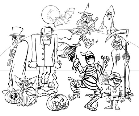 Black and White Cartoon Illustration of Halloween Holiday Monsters and Creatures Group Coloring Book Иллюстрация