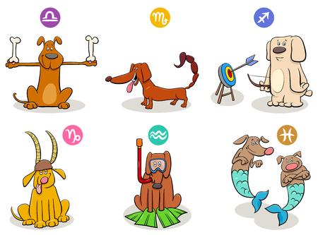 Ilustración de dibujos animados de los signos del zodíaco horóscopo con conjunto de caracteres de perro Ilustración de vector