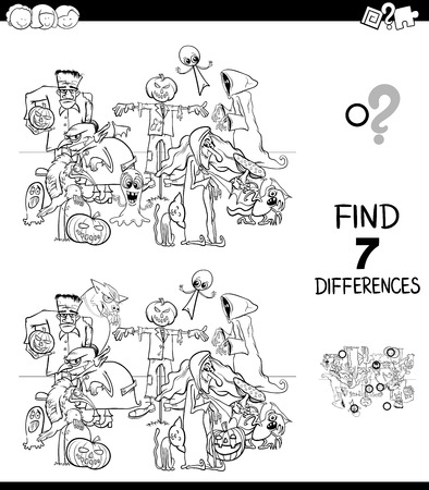 Black and White Cartoon Illustration of Finding Ten Differences Between Pictures Educational Game for Children with Halloween Characters Coloring Book