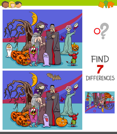 Cartoon Illustration of Finding Seven Differences Between Pictures Educational Game for Children with Halloween Characters