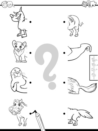 Black and White Cartoon Illustration of Educational Game of Matching Halves of Pictures with Wild Animals Coloring Book