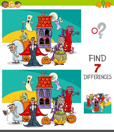 Ilustración de dibujos animados de encontrar siete diferencias entre imágenes Juego educativo para niños con personajes de Halloween espeluznantes