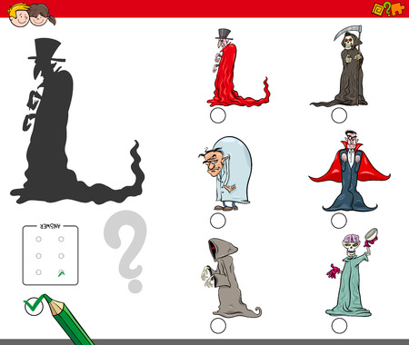 Cartoon Illustration of Finding the Right Shadow Educational Activity for Children with Halloween Spooky Characters