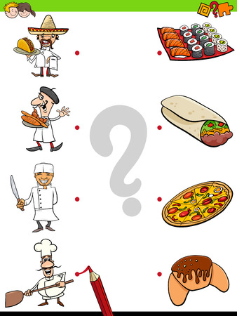 Cartoon Illustration of Educational Pictures Matching Game for Children with Chefs and Food