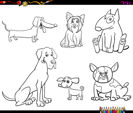 Black and White Cartoon Illustration of Purebred Dogs Animal Characters Set Coloring Book