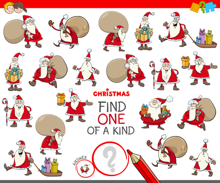 Cartoon Illustration of Find One of a Kind Picture Educational Activity Game for Children with Christmas Santa Characters