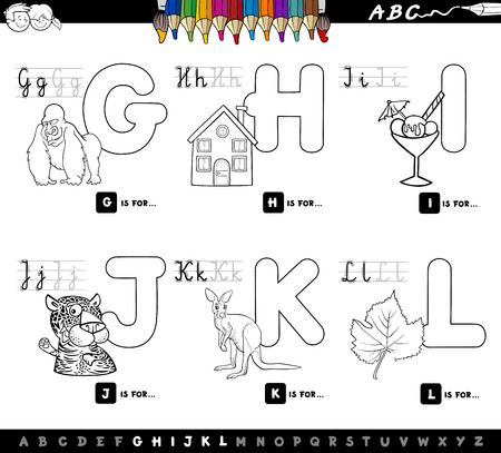 Black and White Cartoon Illustration of Capital Letters Alphabet Educational Set for Reading and Writing Learning for Children from G to L Color Book Çizim