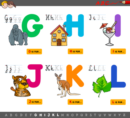 Cartoon Illustration of Capital Letters Alphabet Educational Set for Reading and Writing Practise for Children from G to L