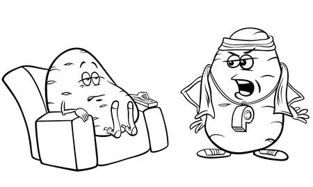 Illustration de concept d'humour de dessin animé noir et blanc de dire de pomme de terre de divan