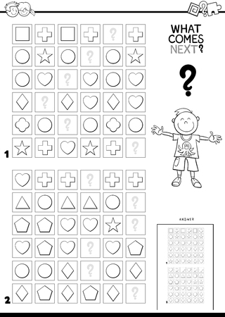 Black and White Cartoon Illustration of Finishing the Pattern in the Rows Educational Game for Children Color Book