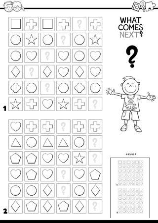 Ilustración caricatura en blanco y negro de terminar el patrón en las filas Juego educativo para niños Libro de color Ilustración de vector