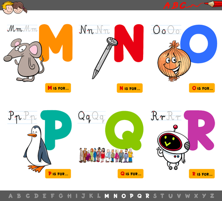 Cartoon Illustration of Capital Letters Alphabet Educational Set for Reading and Writing Practise for Children from M to R Ilustração