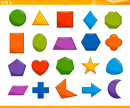 Cartoon Illustration of Educational Basic Geometric Shapes for Elementary Age Children Ilustração