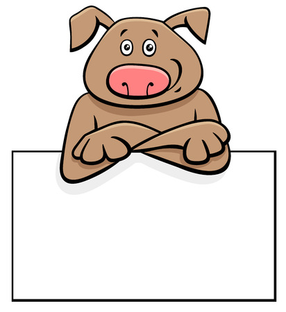 Cartoon Illustration of Funny Dog with White Card or Board Greeting or Business Card Design
