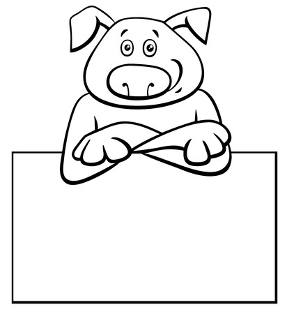 Black and White Cartoon Illustration of Funny Dog with White Card or Board Greeting or Business Card Design Illustration