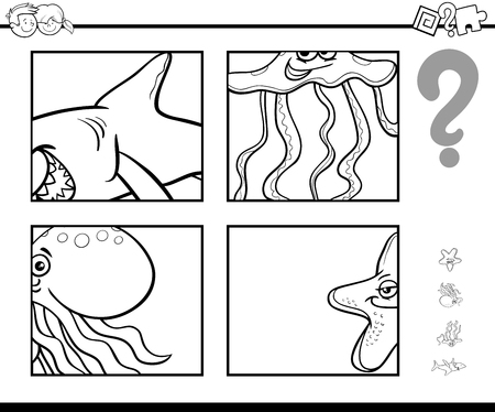 Black and White Cartoon Illustration of Educational Activity Game of Guessing Sea Animals for Children Coloring Page Illustration