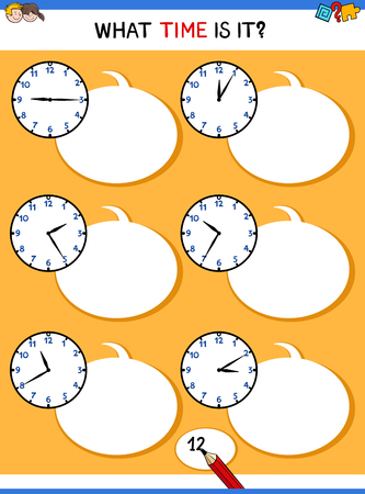 Cartoon Illustrations of Telling Time Educational Task with Clock Face for Kids Illusztráció