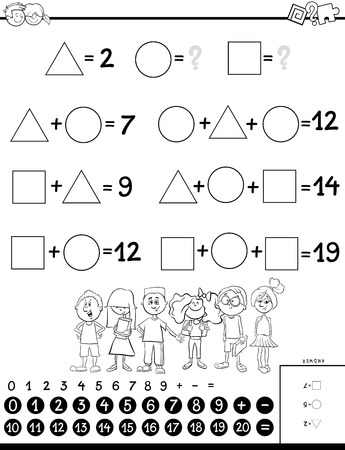 Black and White Cartoon Illustration of Educational Mathematical Calculation with Unknown Puzzle Game for Children Coloring Book