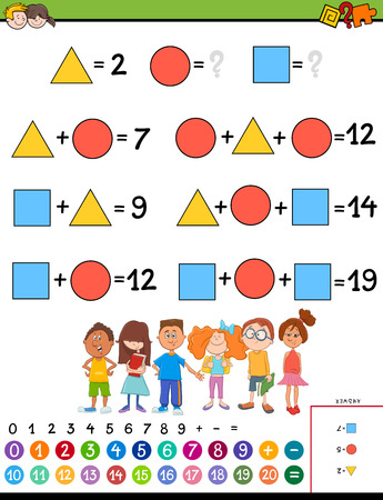 Cartoon Illustration of Educational Mathematical Calculation with Unknown Puzzle Game for Children Ilustrace