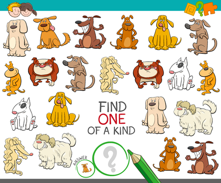 Cartoon Illustration of Find One of a Kind Picture Educational Activity Game for Children with Dogs Animal Characters