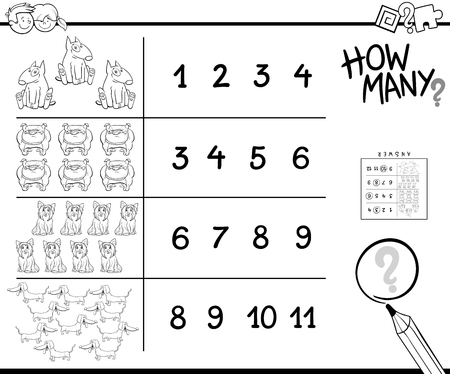 Black and White Cartoon Illustration of Educational How Many Counting Activity for Children with Dogs Animal Characters Coloring Book