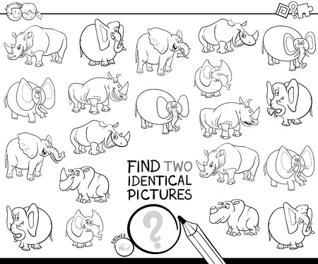 Black and White Cartoon Illustration of Finding Two Identical Pictures Educational Game for Kids with Elephants and Rhinoceros Characters Coloring Book