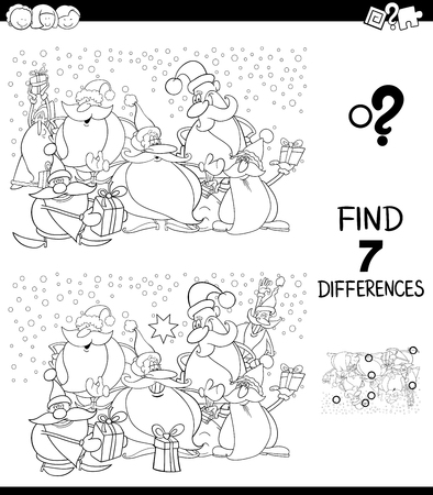 Black and White Cartoon Illustration of Finding Seven Differences Between Pictures Educational Game for Kids with Santa Claus Christmas Characters Coloring Book