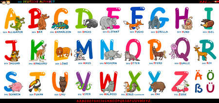 Cartoon Illustration of Educational Colorful German or Deutsch Alphabet Set with Funny Animals 矢量图像
