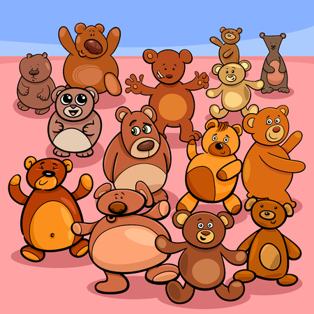 Cartoon Illustration of Teddy Bears Objects Characters Group
