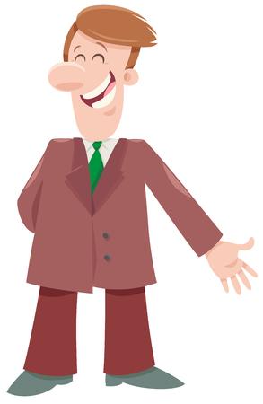 Cartoon Illustration of Happy Man or Comic Businessman Character