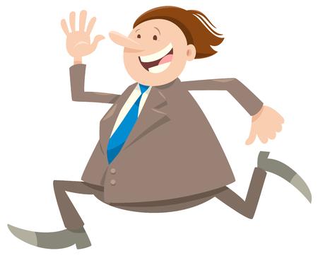 Cartoon Illustration of Happy Running Man or Businessman Character