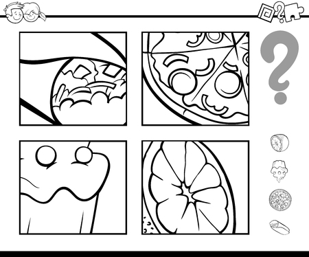 Black and White Cartoon Illustration of Educational Activity Game of Guessing Food Objects for Children Coloring Book