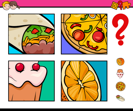 Cartoon Illustration of Educational Activity Game of Guessing Food Objects for Children Illustration