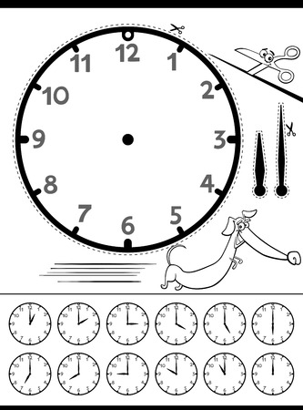 Black and White Cartoon Illustrations of Clock Face Telling Time Educational Page for Children