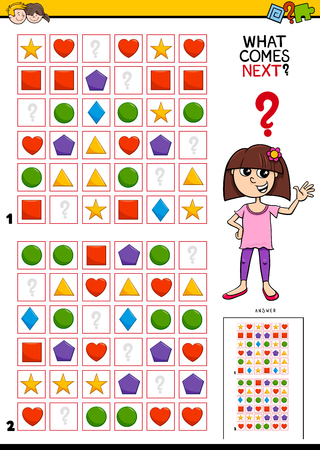 Cartoon Illustration of Completing the Pattern in the Rows Educational Game for Kids