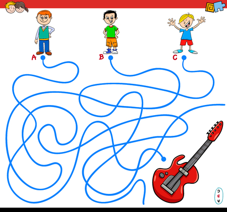 Cartoon Illustration of Paths or Maze Puzzle Game with Boys and Electric Guitar Illustration
