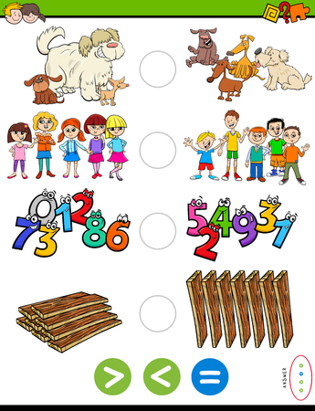 Cartoon Illustration of Educational Mathematical Puzzle Game of Greater Than, Less Than or Equal to for Preschool and Elementary Age Children