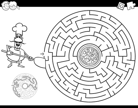 Black and White Cartoon Illustration of Education Maze or Labyrinth Activity Game for Children with Chef and Pizza Coloring Book