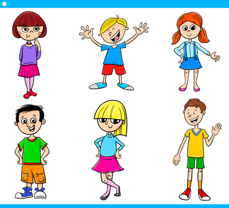 Cartoon Illustration of Girls and Boys Children and Teen Characters Set Ilustracja
