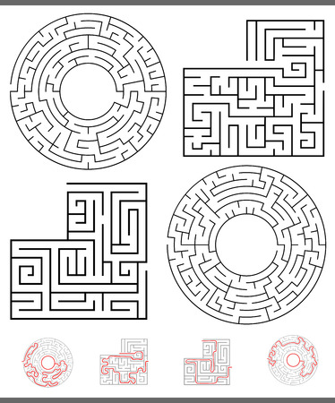 Illustration of Black and White Mazes or Labyrinths Leisure Games Set with Paths