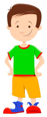 Cartoon Illustration of Cute Elementary Age Boy Character