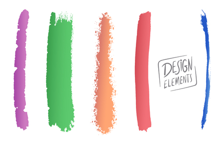 Vector Illustration of Abstract Dry Brush Painting or Design Elements Set Çizim