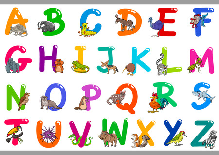 Cartoon Illustration of Colorful Alphabet Letters Set from A to Z with Happy Animals