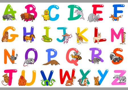 Cartoon Illustration of Colorful Alphabet Letters Set from A to Z with Happy Animal Characters